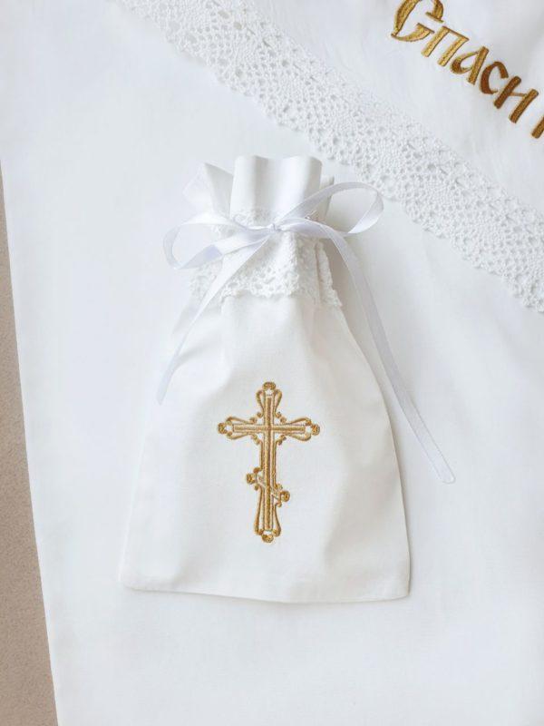 """Мешочек для первого локона малыша """"Золотой крестик"""""""