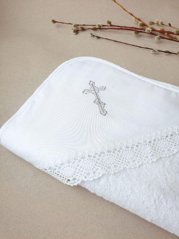 """Крестильное полотенце """"Серебряный крестик"""""""