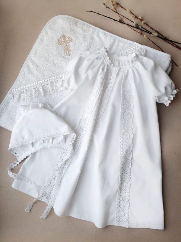 """Крестильный комплект с полотенцем """"Душенька"""" с бежевой вышивкой"""