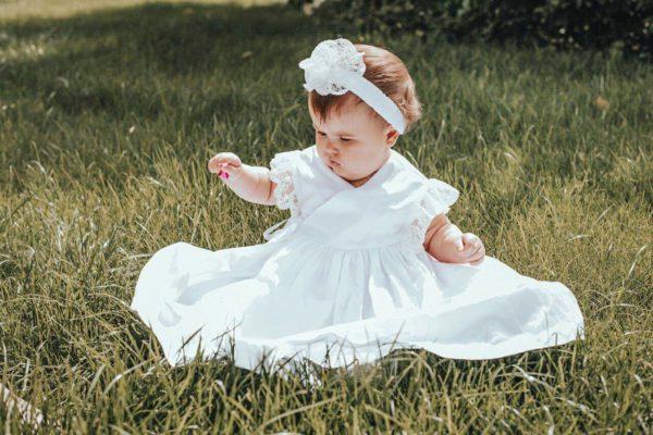 Повязка для девочки с кружевным цветком