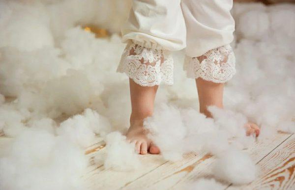 Тёплый крестильный комплект для девочки из микровельвета