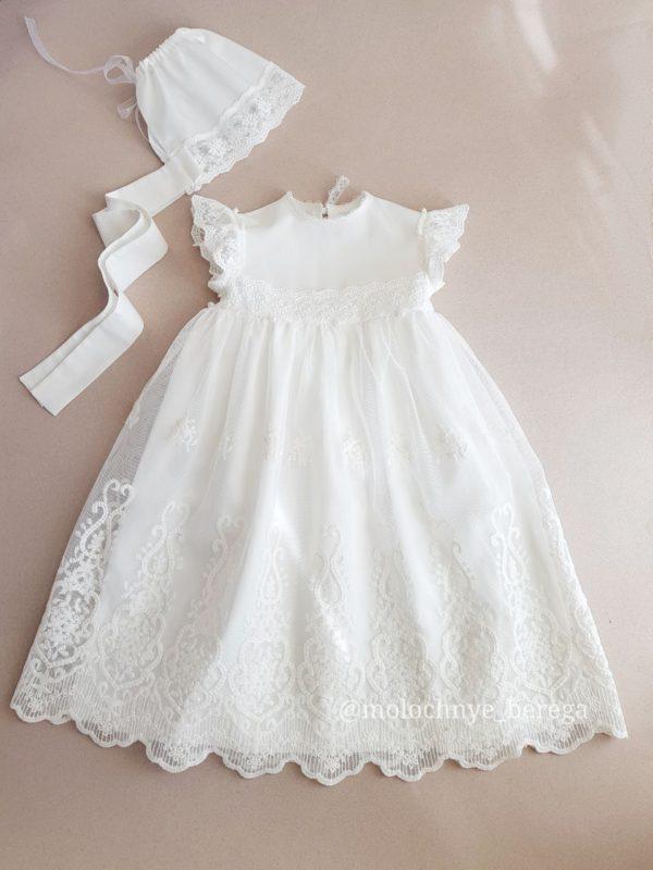 Крестильный наряд для девочки в цвете айвори