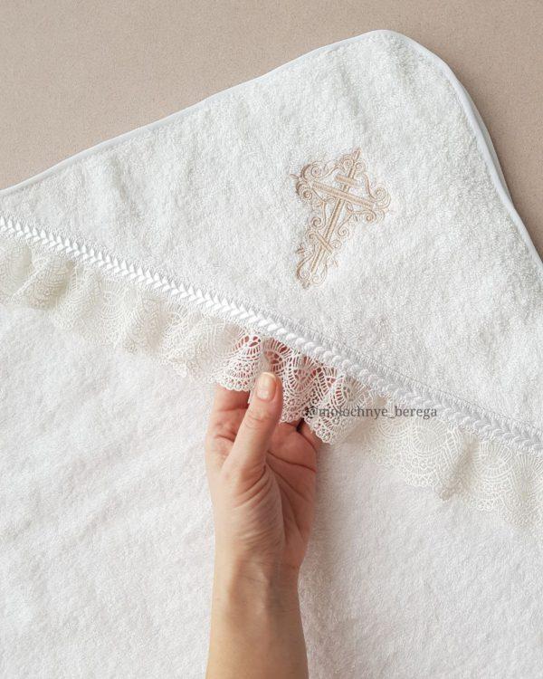 Крестильное полотенце с бежевым крестиком
