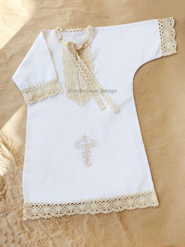 """Крестильная рубашечка  """"Былина"""" с вышитым крестиком"""