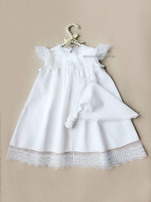 Крестильное платье для девочки с косынкой
