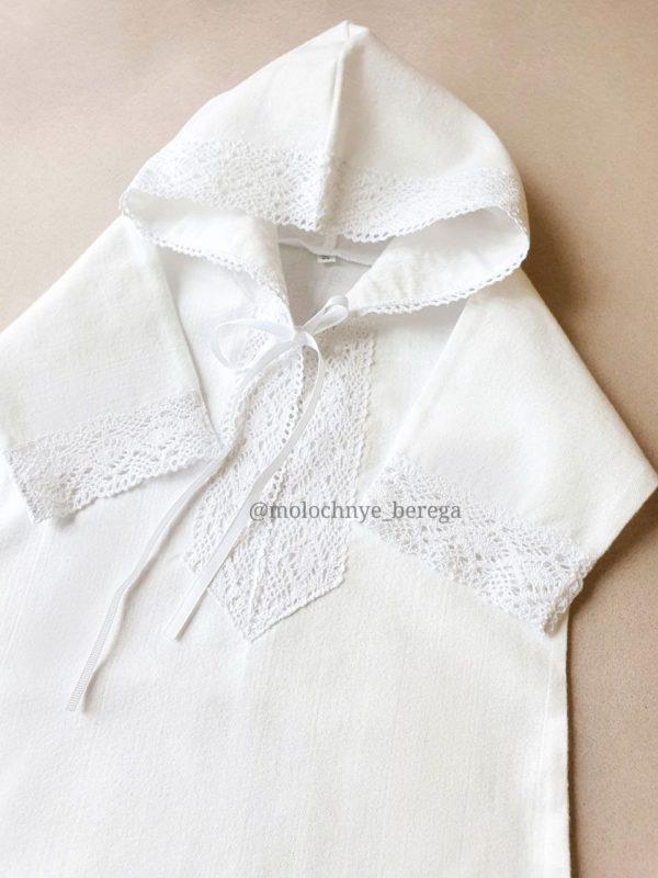 Теплая крестильная рубашка с капюшоном